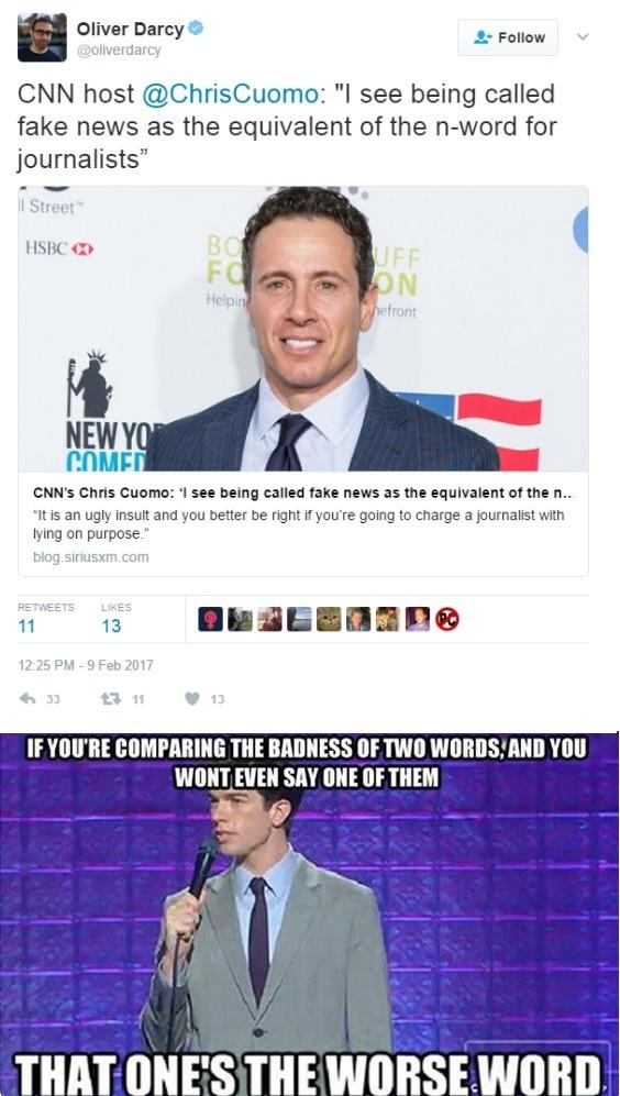 "CNN is Very Fake News. . winter Darcy's' "" h Follow n.' Attenders; CNN host (g) Chriscosmo: "" cnn is very fake News"