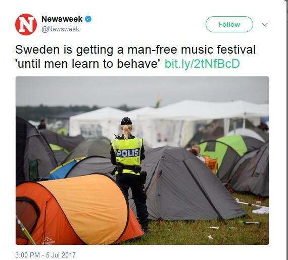 Sweden's gender segregated concert. join list: PoliticsAndStuff (564 subs)Mention History. Newsweek 'i.. Sweden is getting a mannfred music festival until men l Sweden's gender segregated concert join list: PoliticsAndStuff (564 subs)Mention History Newsweek 'i Sweden is getting a mannfred music festival until men l