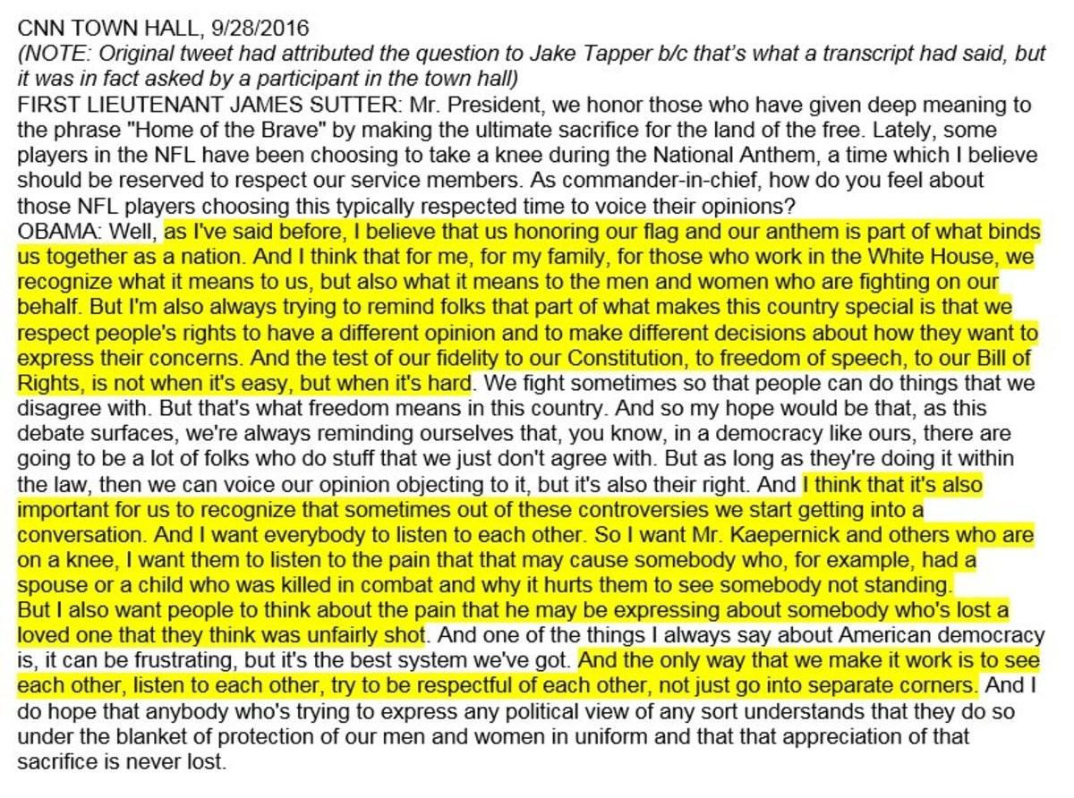 Obama on Kapernick last year. . CNN TOWN HALL, 9/ 28/ 2016 NOTE: Original tweet had attributed the question ID Jake Obama on Kapernick last year CNN TOWN HALL 9/ 28/ 2016 NOTE: Original tweet had attributed the question ID Jake