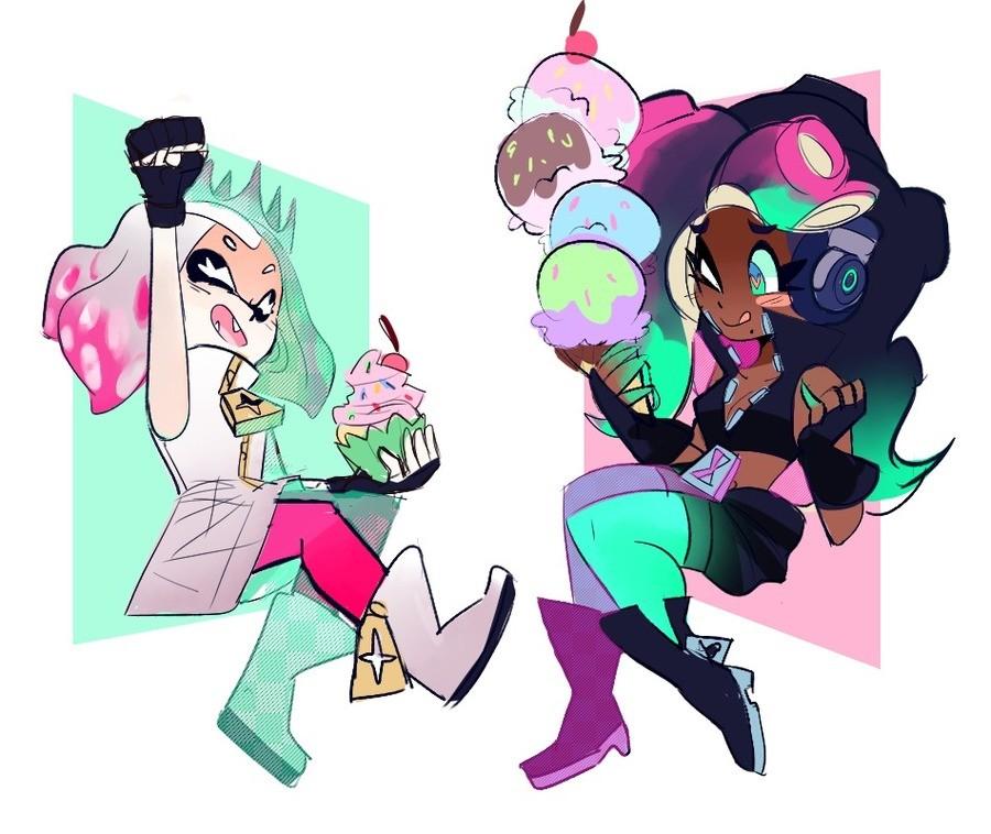 Splatoon Fan Art Comp. #12: Pearl and Marina. Artist: gizamalukebell.tumblr.com Artist: runeechan.tumblr.com Artist: iidahime.tumblr.com Artist: mimi-loves-foxe splatoon Nintendo Inklings Octolings