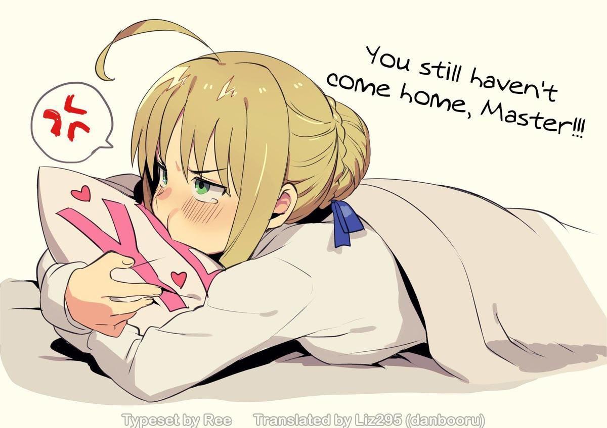 Where Are You Mastah?.  Artist: Amanekuu / まめおじたん Source: twitter.com/O_U_D_O_N/status/91894438... [trigger mentio Anime manga fate saber artoria Cute master