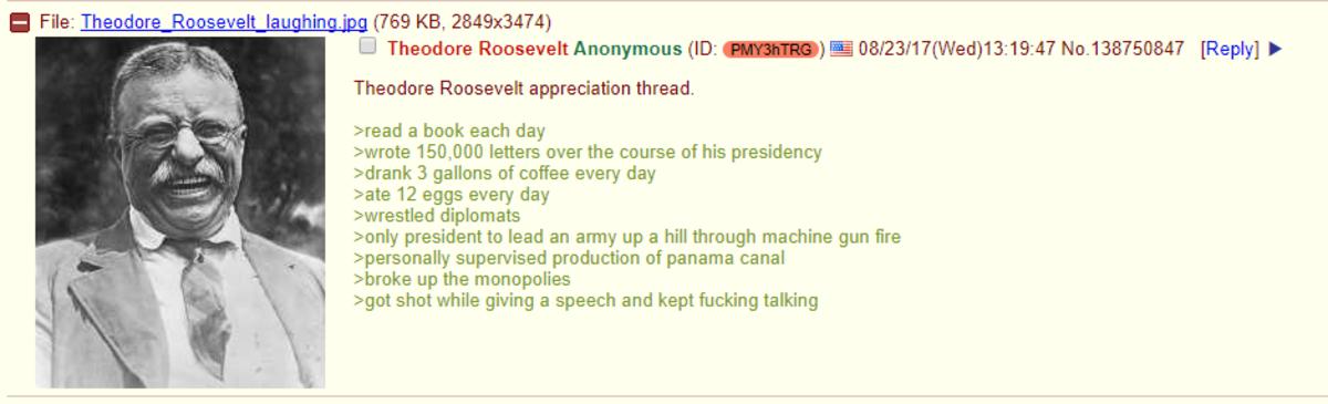 Wholesome /pol/ - Theodore Roosevelt appreciation thread. . MI File: Theodore Wholesome /pol/ - Theodore Roosevelt appreciation thread MI File: