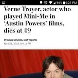 Verne Troyer dies, 49